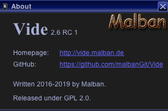 11th of May 2020 – Vide 2.6 RC01